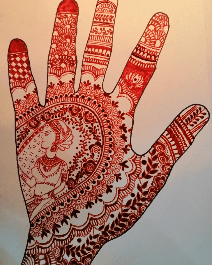 Alluring Karva Chauth Henna Design on Back Hand