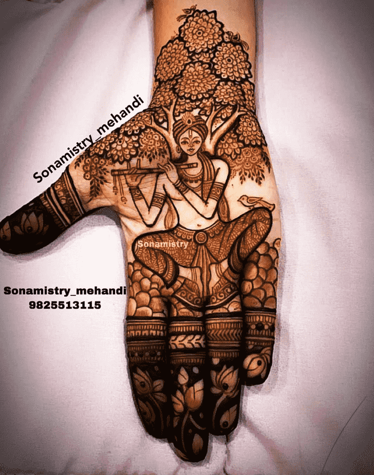 Charming Krishna Henna Design