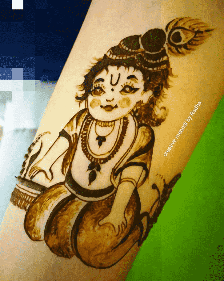 Dazzling Krishna Henna Design