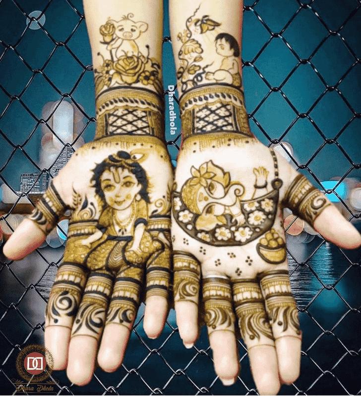 Delicate Krishna Henna Design