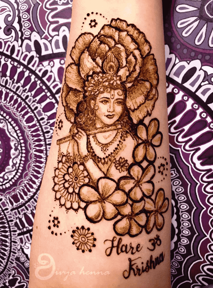 Enthralling Krishna Henna Design