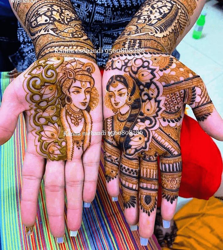 Good Looking Krishna Henna Design