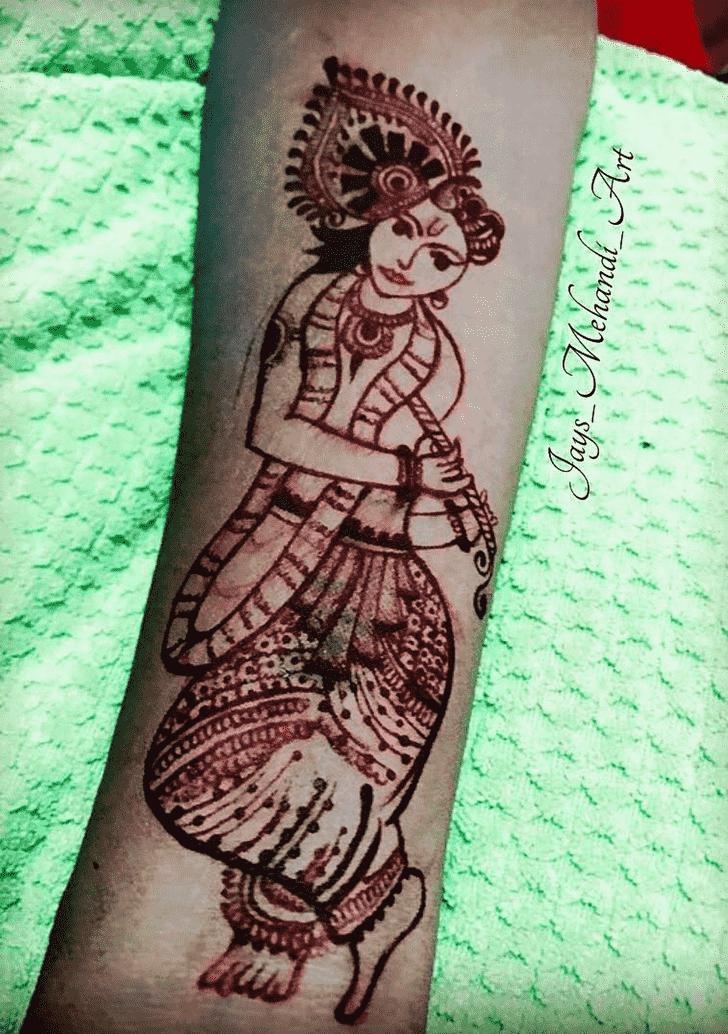 Graceful Krishna Henna Design