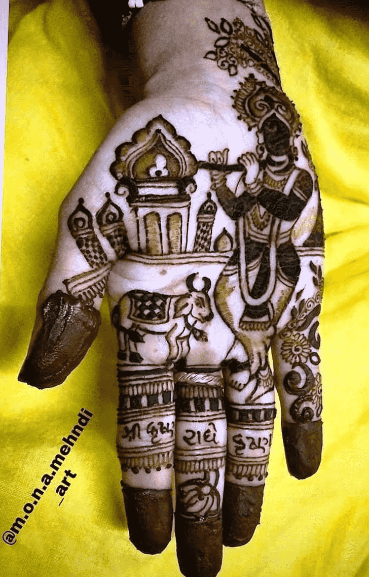 Inviting Krishna Henna Design