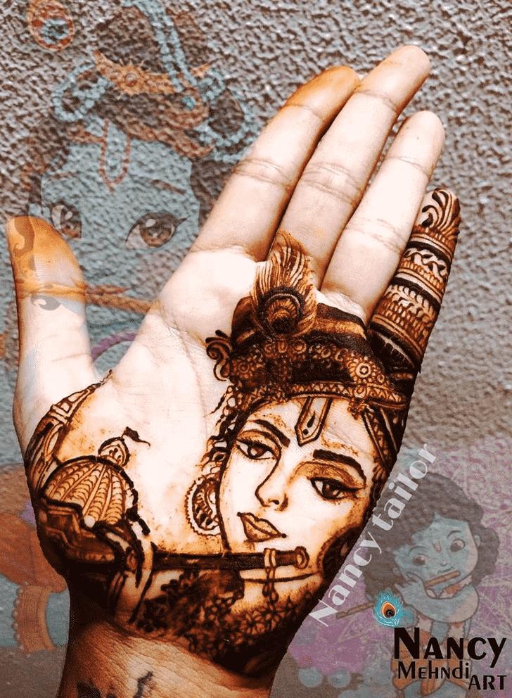 Nice Krishna Henna Design
