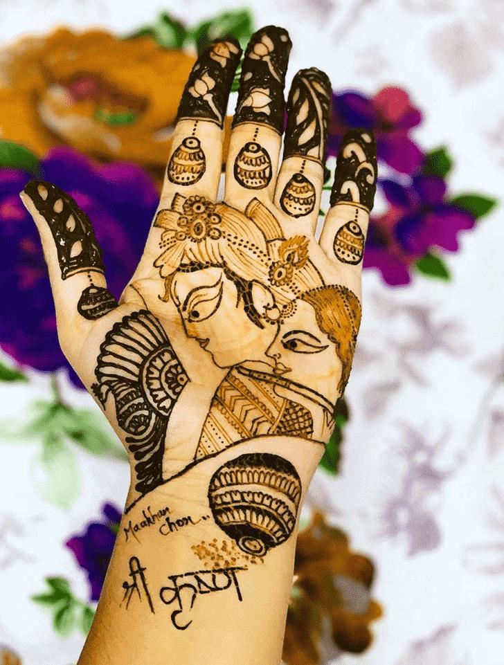 Radiant Krishna Henna Design