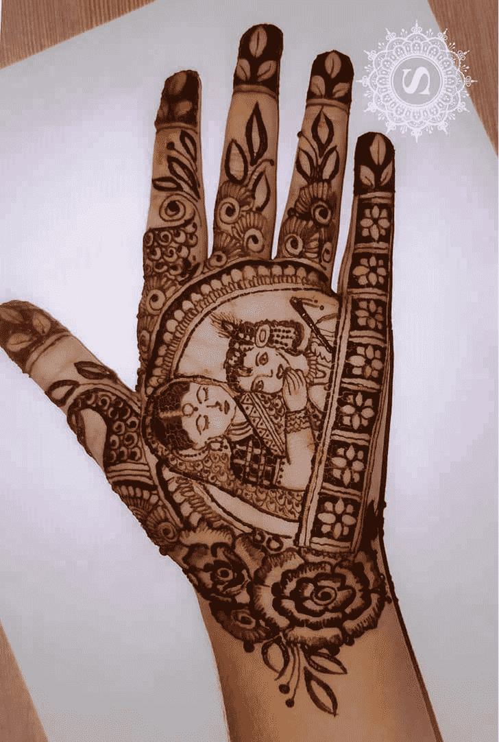 Refined Krishna Henna Design