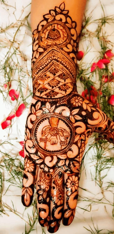 Comely Raksha Bandhan Henna Design on Back Hand