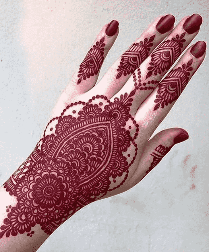 Appealing Red Henna Design