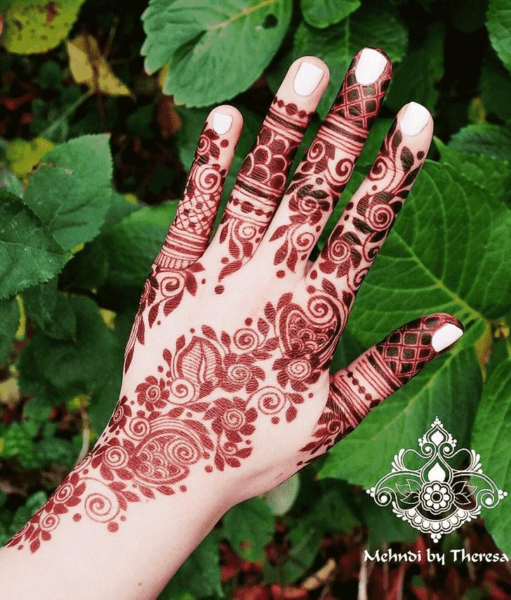 Bewitching Red Henna Design