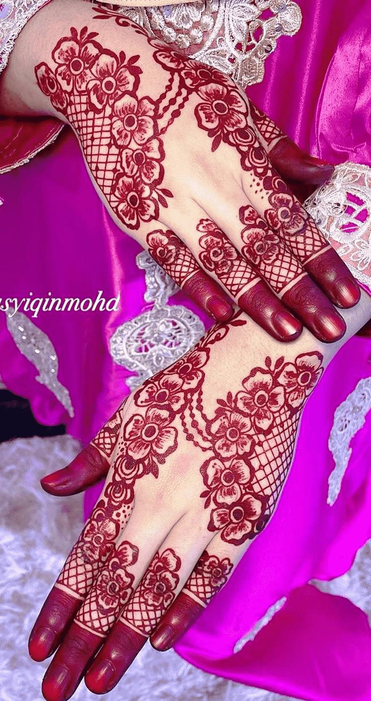 Arm Red Henna Design