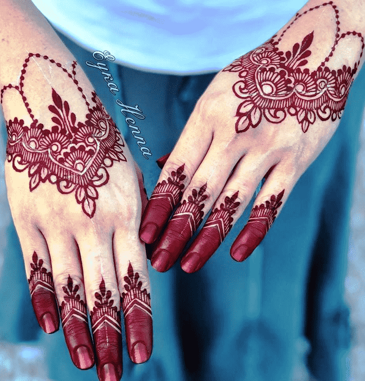 Enthralling Red Henna Design