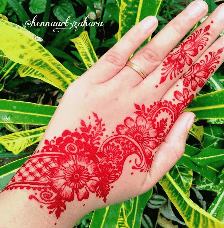 Fascinating Red Henna Design
