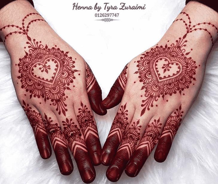 Graceful Red Henna Design