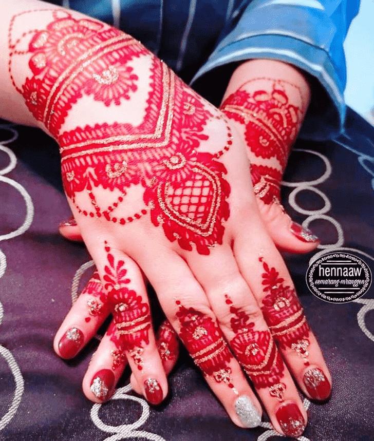 Superb Red Henna Design