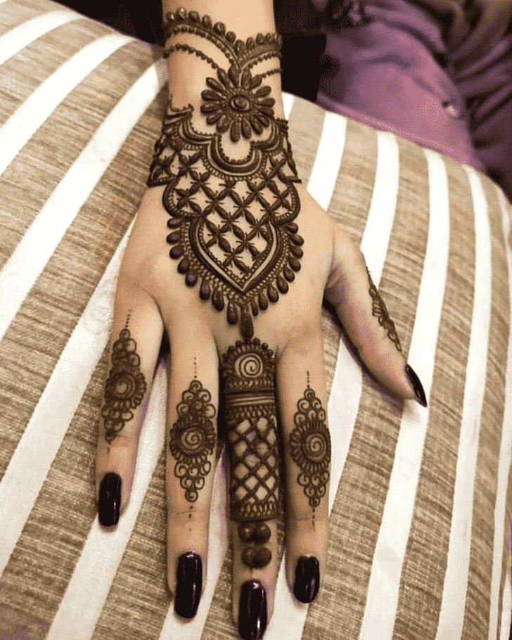Charming Right Hand Henna design
