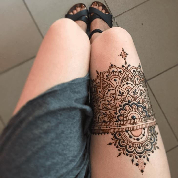Divine Thigh Henna Design