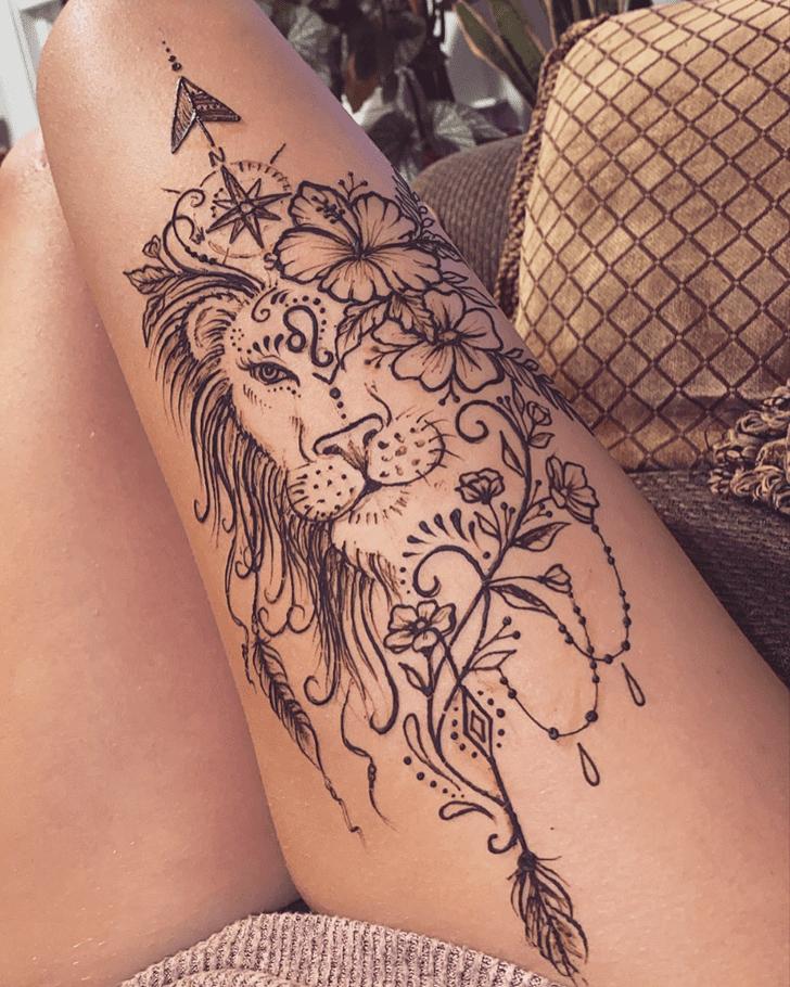 Pulchritudinous Thigh Henna Design