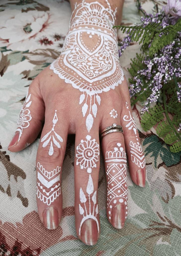 Foot Floral White Mehndi Henna