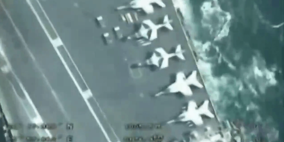 Iran's IRGC drone takes precise footage as it flies over US aircraft carrier in the Persian Gulf (Video)