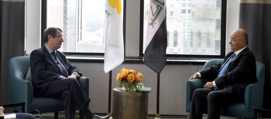 President Salih Meets Cypriot President: Int'l Cooperation Is Vital to Address Challenges Presented by Terrorism, Health Crisis and Climate Change