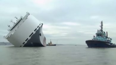 Photo of سفينة جورجيا المنكوبة كانت تحمل 4200 سيارة وبقيت طافية في وضع غريب