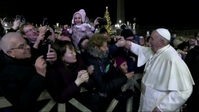 Photo of غضب شديد لبابا الفاتيكان بعد أن أمسكت امرأة بيده (فيديو)