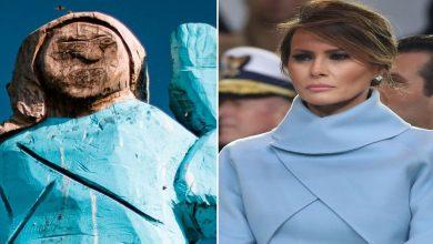 Photo of مجهولون يحرقون تمثالًا لميلانيا ترامب في مسقط رأسها