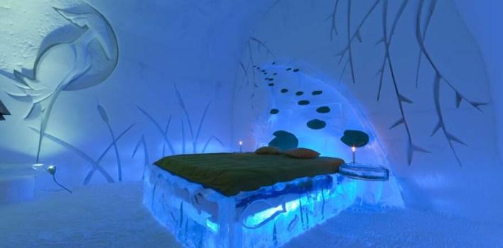 جناح في الفندق يسمى بالقلعة الجليدية و يوفر الفندق أغطية سميكة، و أكياس للنوم عالية الجودة، و فراء فاخر.