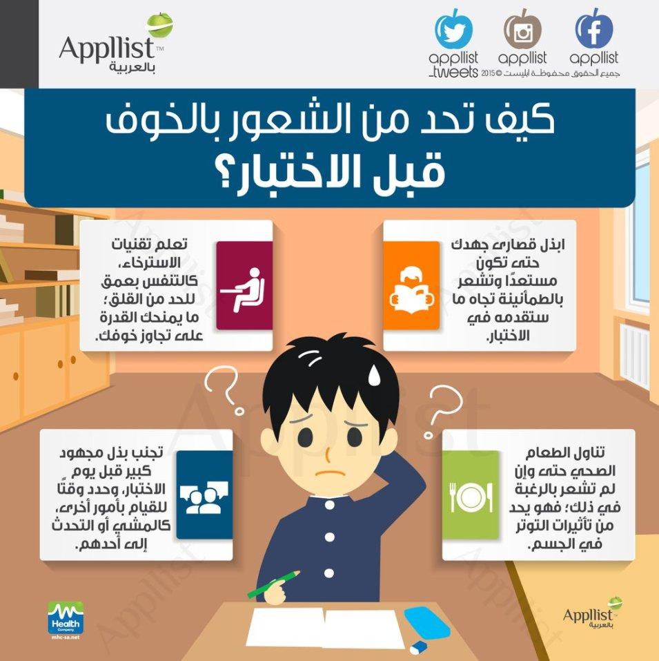 [إنفوجرافيك] - كيف تحد من الشعور بالخوف قبل الإختبار ؟ - موقع علوم العرب