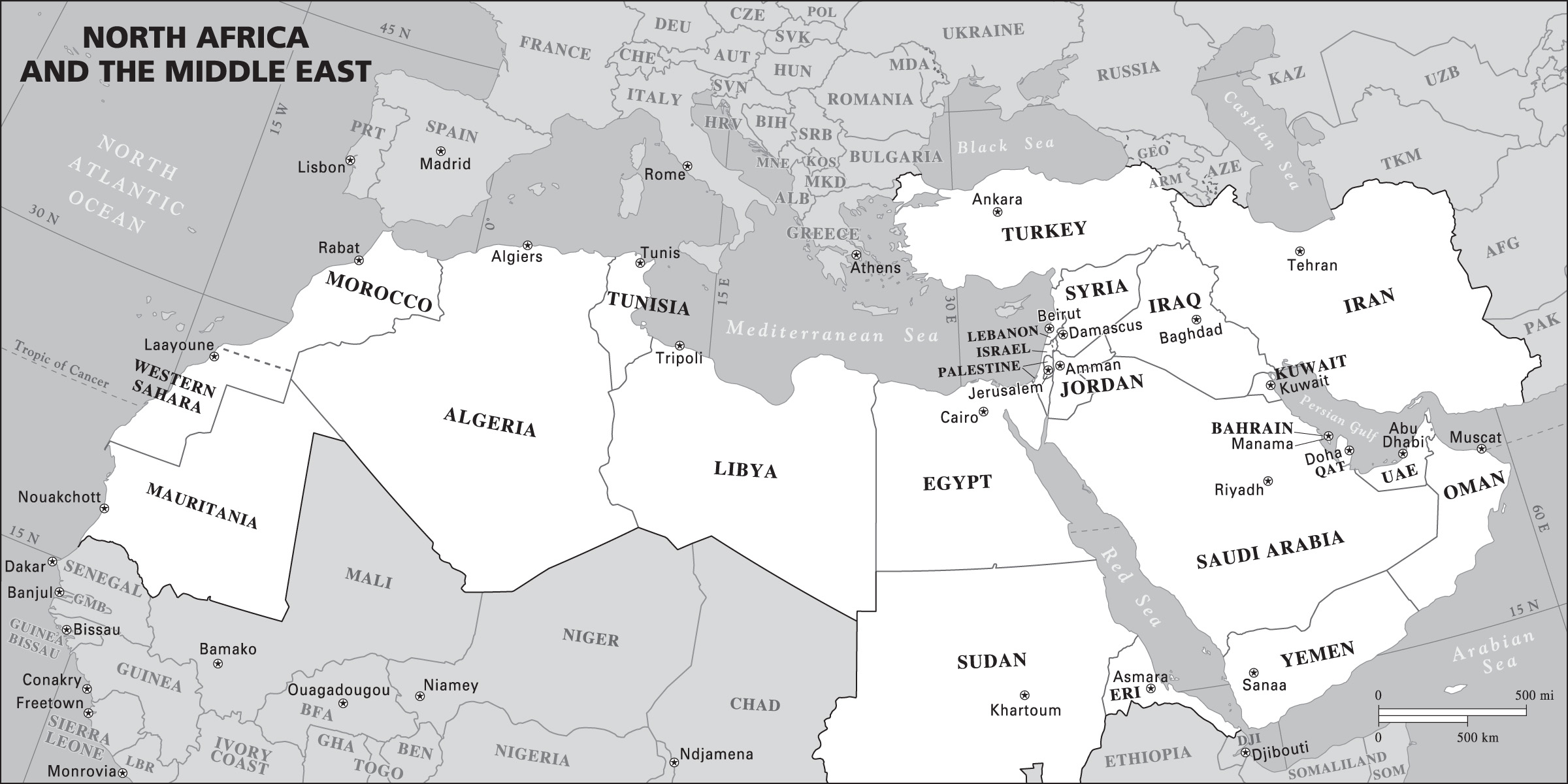 Middle East And North Africa Blank Map
