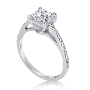 1.51 Carat Princess Cut Diamond Engagement Ring 14K White Gold