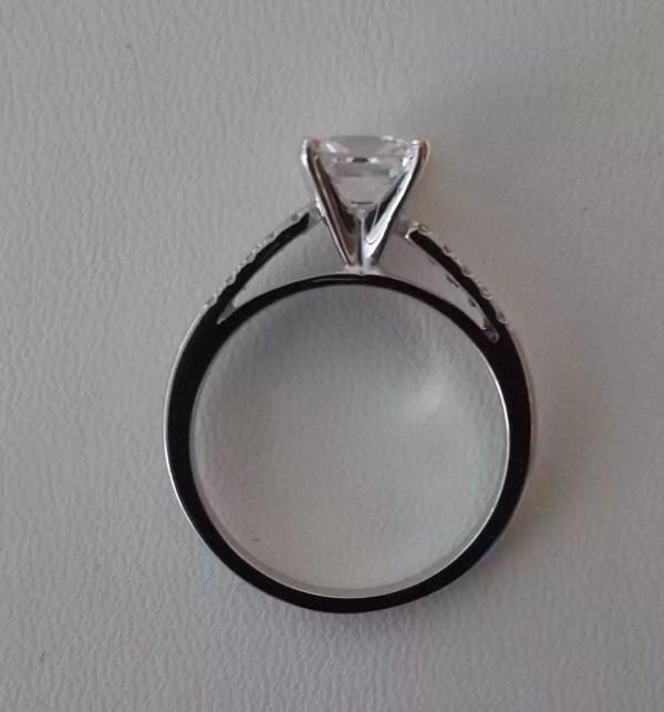1.55 Carat Princess Cut Diamond Engagement Ring 14K White Gold 4