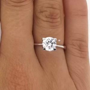 1.75 Carat Round Cut Diamond Engagement Ring 14K White Gold
