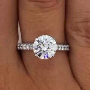 2.1 Carat Round Cut Diamond Engagement Ring 14K White Gold
