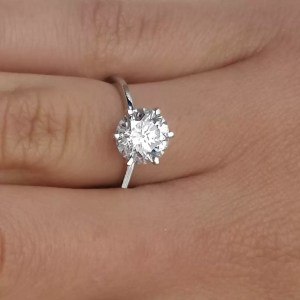 2.25 Carat Round Cut Diamond Engagement Ring 14K White Gold