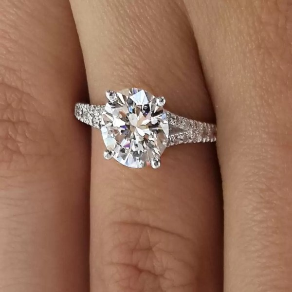 2.5 Carat Round Cut Diamond Engagement Ring 14K White Gold 2