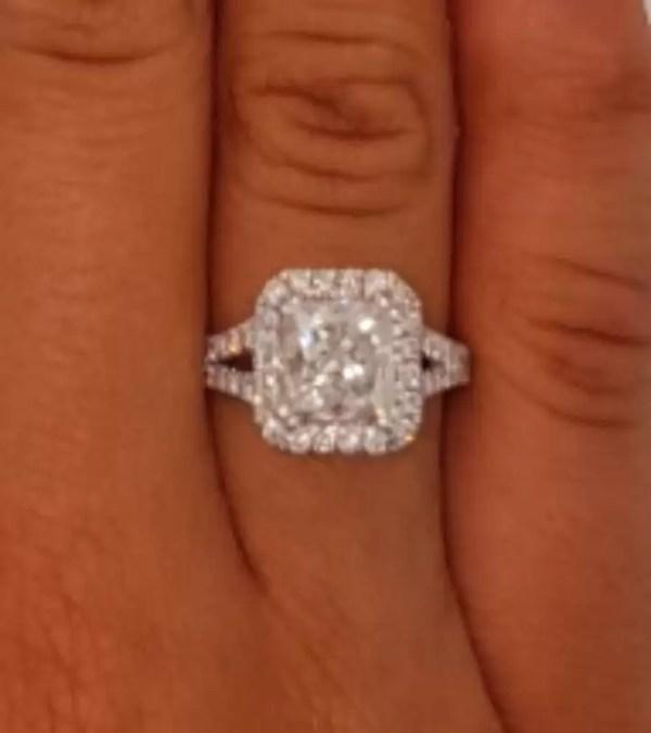 4 Carat Princess Cut Diamond Engagement Ring 14K White Gold 3
