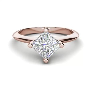 4 Prong 0.75 Carat VS1 Clarity F Color Princess Cut Diamond Engagement Ring Rose Gold 3