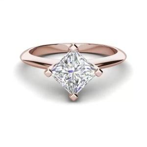 4 Prong 1 Carat VS2 Clarity D Color Princess Cut Diamond Engagement Ring Rose Gold 3