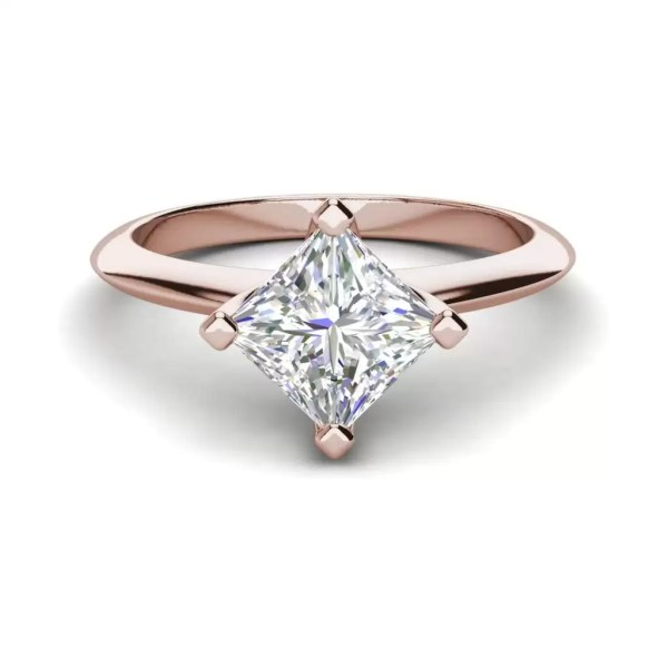 4 Prong 3 Carat SI1 Clarity D Color Princess Cut Diamond Engagement Ring Rose Gold 3