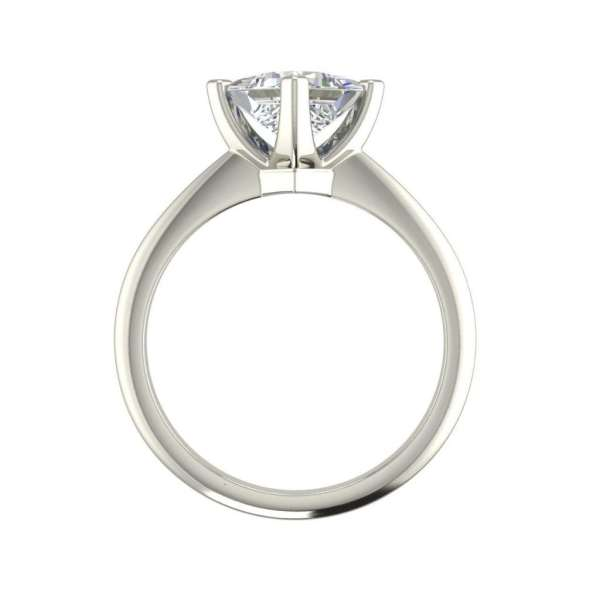 4 Prong 0.75 Carat VS1 Clarity F Color Princess Cut Diamond Engagement Ring White Gold 2