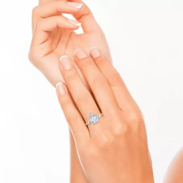 Baguette Accents 1.5 Ct VVS1 Clarity D Color Pear Cut Diamond Engagement Ring White Gold 4