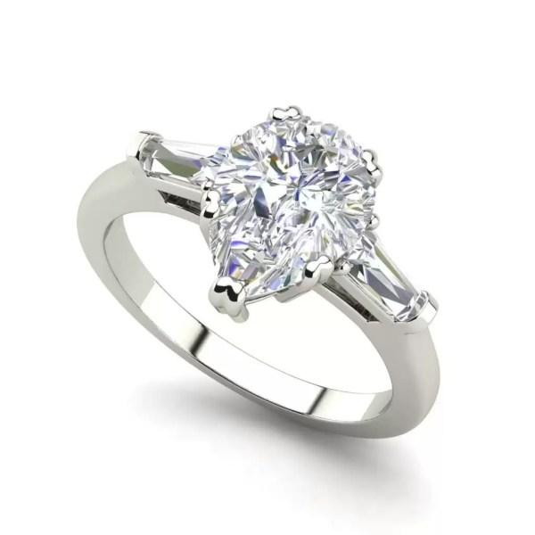 Baguette Accents 1.5 Ct VVS1 Clarity D Color Pear Cut Diamond Engagement Ring White Gold