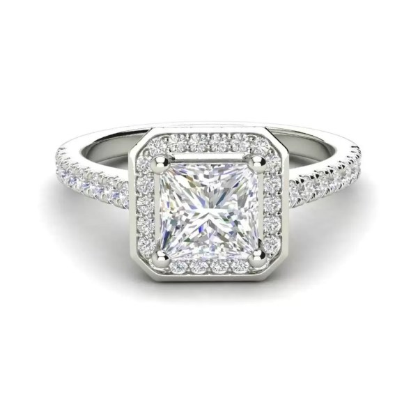 Halo Pave 3.2 Carat VS1 Clarity D Color Princess Cut Diamond Engagement Ring White Gold 3