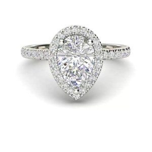 Pave Halo 1.7 Carat VS2 Clarity D Color Pear Cut Diamond Engagement Ring White Gold 3
