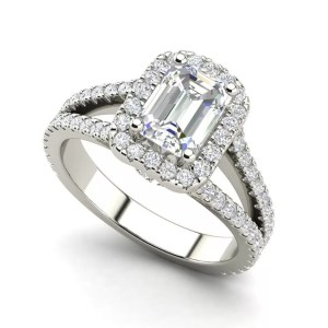 Pave Halo 2.4 Carat VS2 Clarity F Color Emerald Cut Diamond Engagement Ring White Gold