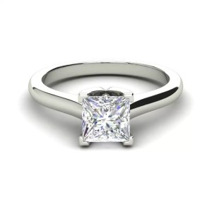 Solitaire 2.25 Carat VS2 Clarity F Color Princess Cut Diamond Engagement Ring White Gold 3