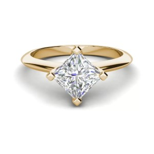 4 Prong 3 Carat SI1 Clarity D Color Princess Cut Diamond Engagement Ring Yellow Gold 3