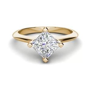 4 Prong 3 Carat SI1 Clarity D Color Princess Cut Diamond Engagement Ring Yellow Gold 3